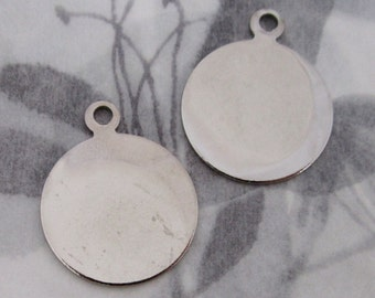 6 pcs. silver tone disk tag charms findings 21mm - f4342