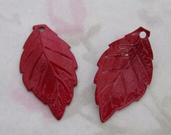 6 pcs. vintage red cold enamel metal leaf charms 23x18mm - f2124