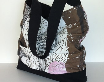 Cotton hobo purse , Large slouch woodland print shoulder bag with top zipper closure , Hobo bag , Casual vegan  day bag