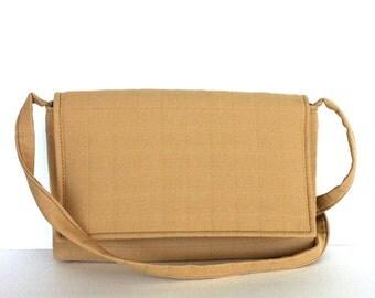 Flap purse , Small classic shoulder bag in dark cream , Fabric handmade bag , Side bag , Shoulder purse ,Gift for her , Shop Canada