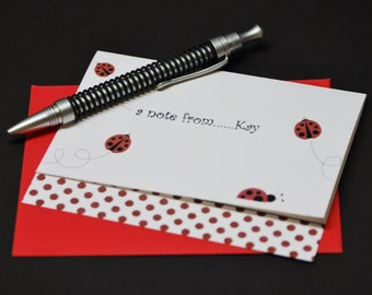 Ladybug Love, personalized and custom note cards, set of 6 greeting cards