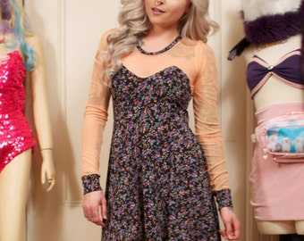 Peach and Dark Floral Long Sleeve Sheer Top Skater Dress MADE TO ORDER