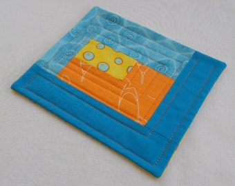 Turquoise, Orange and Yellow Quilted Patchwork Coffee Coaster or Mug Rug