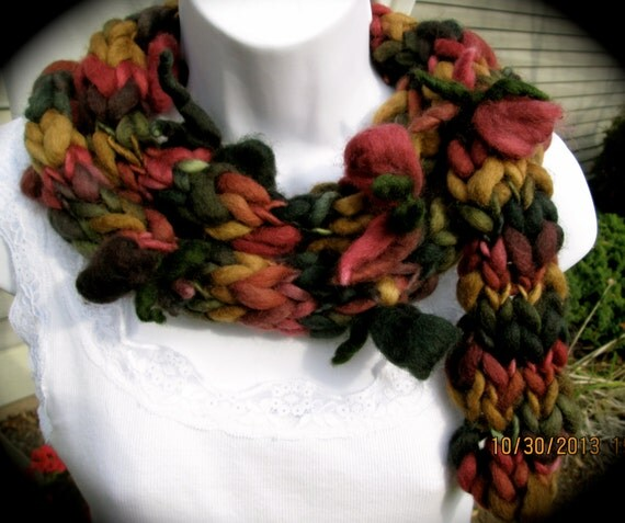 Finger knit wool acrylic winter scarf, long scarf, warm scarf in autumnal shades with felted flowers and leaves