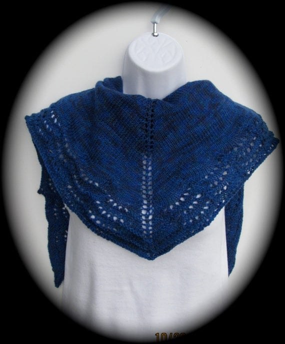 Hand knit lace knit shawl or wrap in royal blue, lace edging, winter wrap, holiday accessory, kerchief scarf