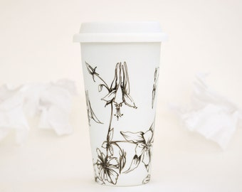 White Ceramic Eco Cup - Columbine, Drawing Collection