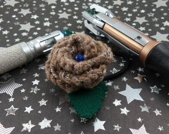 Crocheted Rose Ponytail Holder or Bracelet - Copper with a Blue Bead (SWG-HP-DWDA01)