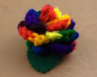 Crocheted Rose Bar Pin - Rainbow (SWG-PS-RB03)