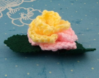 Crocheted Rose Barrette - Yellow and Pink (SWG-HB-MPFS01)