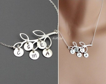 Personalized Family Necklace and Initials / ALL Sterling Silver Tree Monogram Charm / Custom Children Initial Necklace / Sister Jewelry