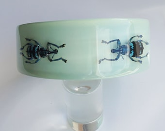 Soft blue lucite bracelet with real insects