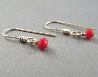 Tiny Red Faceted Glass Dangle Earrings