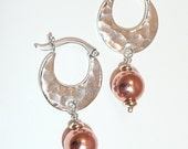 Mixed metal earrings - Bali sterling hammered hoops with copper rounds and gold-plated rondelles