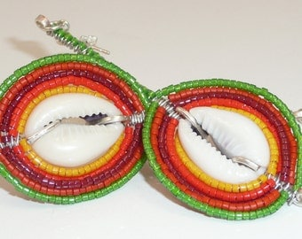 Hibiscus leaves earrings - cowry shells, seed beads, sterling rings and posts