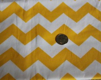 Chevron - David Textiles Fabric - One yard - Yellow on White