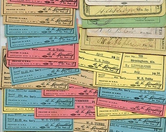 Vintage Union Work Cards Lot of (20) Coach Bus Trolly Electric Trade Tickets 1940s  9296