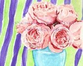 PINK ROSES Original watercolor painting