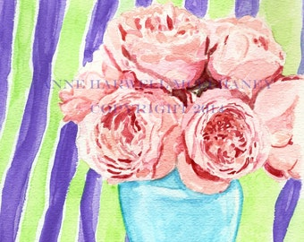 PINK ROSES Original watercolor painting