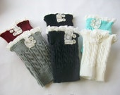 Womens Knit  Boot Cuffs- Lace Boot Cuffs  - Womens Boot Socks - Knitted Leg Warmers - Lace Boot Topper - Knit Boot Topper