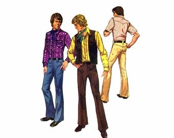 1970s Mens Western Shirt Vest Pants Simplicity 5048 Vintage Sewing Pattern Mans Front Button Shirt Fy Front Zipped Pants Size 40 Chest 40