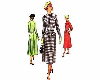 1950s Womens Dress McCall 8315 Vintage Sewing Pattern Jewel Neck Gored Skirt Back Zipped Dress Junior Misses Size 13 Bust 31 UNCUT