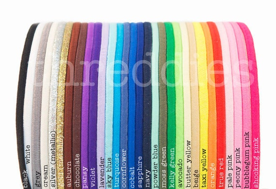 elastic headbands - lot of 50, skinny and stretchy - YOU PICK COLORS - no metal