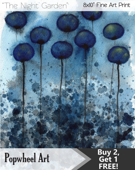 Watercolor Painting: Watercolor Flower Painting -- Art Print --  Night Garden -- Midnight Blue Flowers -- 8x10