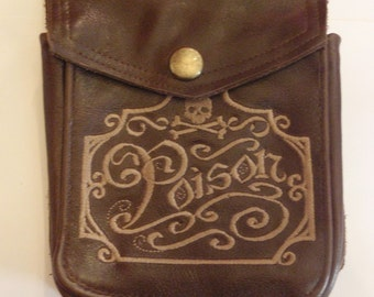 POISON Apothacary Embroidered Brown Leather Hip Pouch- Belt Pouch- Mapcase Bag  Ready To Ship By Darkwear Clothing