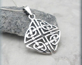 Celtic Necklace Knot Shield Celtic Jewelry Sterling Silver Pendant Irish Jewelry Endless Heart Knotwork (SN735)