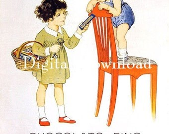 Instant Digital download.Children chocolate ad.Vintage image.Darling Rare.frame, gift price  tags,,use in decoupage, collage,scrapbooks