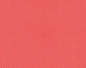 SALE - Miss Kate - Basketweave in Coral: sku 55093-15 cotton quilting fabric by Bonnie and Camille for Moda Fabrics - 1 yard