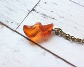 RESERVED for littlebird stories Dutch Clog Charm Necklace Shoe Carved Amber