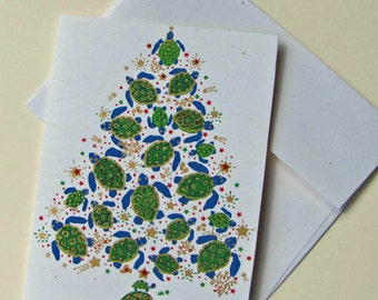 Sea Turtle Tree Christmas Cards - Box of 6