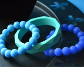 Limited edition set of three shades of blue silicone bead and bangle bracelets with FREE SHIPPING