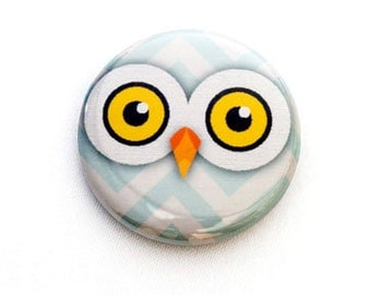 Owl One Inch Pinback Button, Magnet, or Keychain