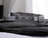 His + Hers Custom Latitude Longitude Bracelets / Set of TWO Cuff Bracelets /  Across the Miles