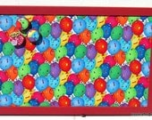 Balloon Celebration Fabric Red Frame Corkboard, Bulletin Board, Tack Board, Pin Board, 17X11 on Etsy, with 4 Button Tacks, Thumbtacks, Kids