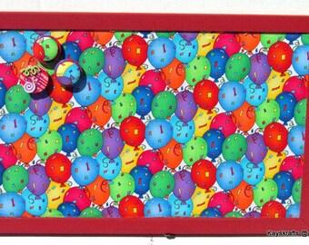 Balloon Celebration Fabric Red Frame Corkboard, Bulletin Board, 17x11 Tack Board, Cork Pin Board, Kids Cork Board, Cork Message Board