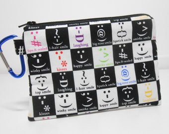Clip Zip Pouch Punctuation Faces Black and White