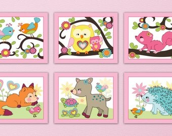 """Set of six 8x10"""" Adorable, Girly, Happy Forest animal prints. Matches color of Dena Happi Tree"""