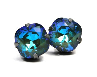 Blue Green Crystal Stud Earrings Classic Mossy Emerald Sparkling Shamrock Solitaire Swarovski 12mm  Sterling Post Copper Ultra AB Sage Moss