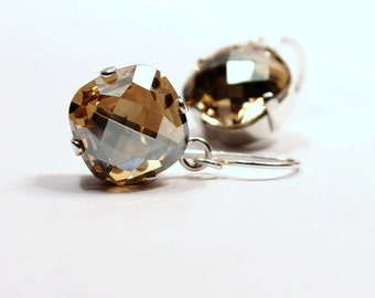 Bright Gold Crystal Dangle Earrings Classic Sparkling Soft Yellow Solitaire Swarovski 12mm Drop Sterling Silver Rose Women's Jewelry Festive