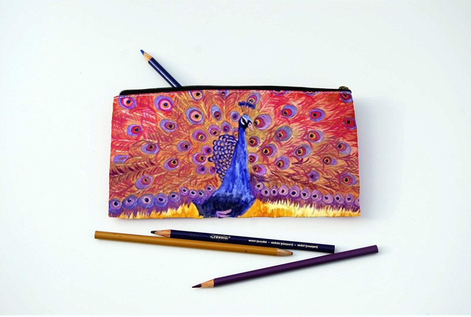 Home Decor Peacock Pencil Cases For Girls Pink Peacock Printed Pouch