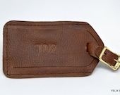 Embossed Kamali Leather Luggage Tag