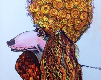 Poodle with Afro  drawing Print  art drawing ink by Mary Vogel Lozinak  Zentangle tateam