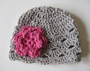 Crochet Baby Hat, Baby Girl Hat, Newborn Beanie, Baby Newborn Hat, Baby Girl, Newborn Prop, Grey Pink, Baby Girl Beanie, Newborn Girl Hat
