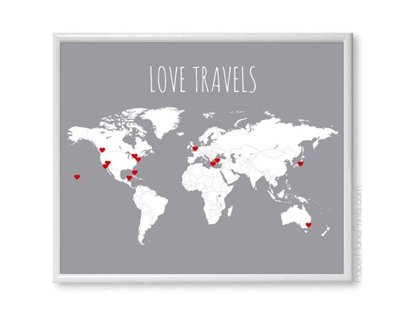 Diy love travels world map couples gift travel map poster like this item gumiabroncs