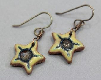 Hand Sculpted Ceramic Star Earrings - Natural Brass - Yellow Starburst