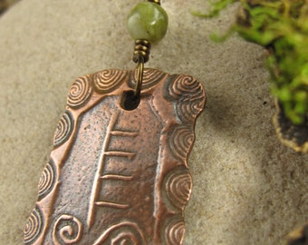 Willow -Celtic Tree Astrology Ogham Copper Pendant, Ogham Jewelry, Irish Celtic Jewelry, Celtic Tree Oracle, Necklace
