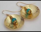 RAW SILK TIBETAN Gongs - TIbetan Turquoise - Handforged Raw Silk Textured Bronze Earrings